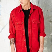 Vintage Renewal Solid Flannel Shirt in Red - Urban Outfitters