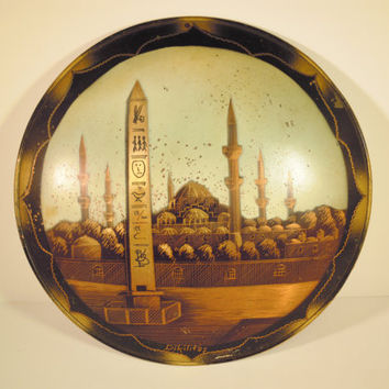 Copper Wall Hanging Plate Obelisk of Theodosius Hippodrome Sultanahmet Square Istanbul Mosque Vintage