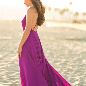 Emma Purple Flowy Maxi Dress