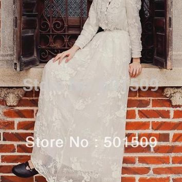 white lace embroidery fullsleeve long medieval dress Renaissance lace Gown
