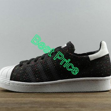 2018 Newest Unisex Adidas Superstar 80s Primeknit Black White S75844 shoe