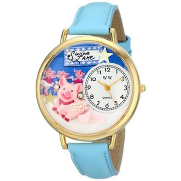 SheilaShrubs.com: Unisex Swine Lake Baby Blue Leather Watch G-0110014 by Whimsical Watches: Watches