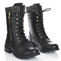 Sully's Womens Mango-31 Round Toe Military Lace Up Knit Ankle Cuff Low Heel Combat Boots, Black, 7.5