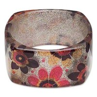 Chunky Square Lucite Bangle Bracelet 70s Mod Retro Flowers Silver Multi Glitter