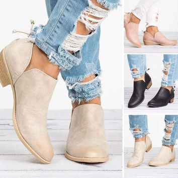2f122e9cb5761 Womens Low Heels Ankle Boots Booties Round Toe Zipper Casual Sho