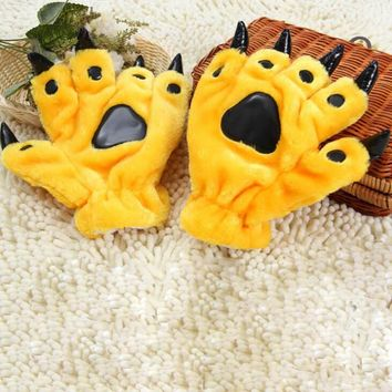 Lovely Cartoon Animal Bear Cat Claw Paw Gloves Women Men Cosplay Soft Plush Paw Gloves Halloween Costumes Gifts Mittens G78