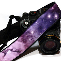 Cosmos Camera Strap. DSLR Camera Strap. Galaxy Camera Strap. Black Purple Violet Camera Strap. Camera Accessories