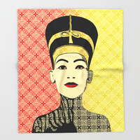 Nefertiti Throw Blanket by Octavia Soldani | Society6