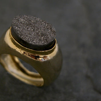 Druzy Ring Gold Druzy Ring Black Druzy Ring by gazellejewelry