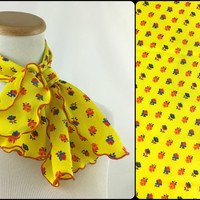 Sweet flirty yellow polyester scarf with flowers & ruffled lettuce edges Vintage 70's ruffled yellow floral neck scarf Bohemian head scarf