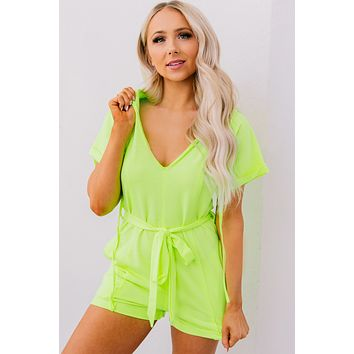 Hard To Miss Hooded Neon Romper (Lime Yellow)