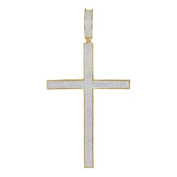 10kt Yellow Gold Mens Round Diamond Roman Cross Large Charm Pendant 2.00 Cttw