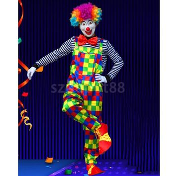 Clown Costume Comedy Grids Suspender Pant Striped Tops Bowtie Halloween Carnival Party Fancy Dress