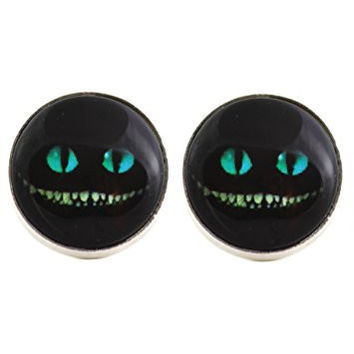 Cheshire Cat Grin Stud Earrings Silver Tone EL17 Black Alice in Wonderland Art Posts Fashion Jewelry