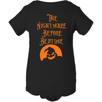 """Nightmare Before Bedtime"" Black Creeper Baby Onesuit"