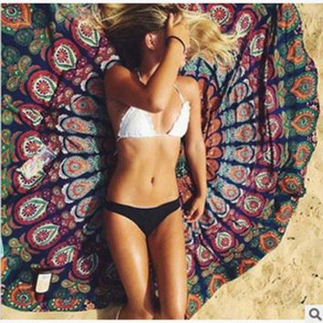Enipate Floral Round Peacock Flower Indian Tapestry Wall Hanging Bohemian Beach Towel Chiffon Thin Blanket Yoga Mat Shawl