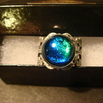 Antique Silver Ox Dichroic Glass Galaxy Ring  - Adjustable (1052)