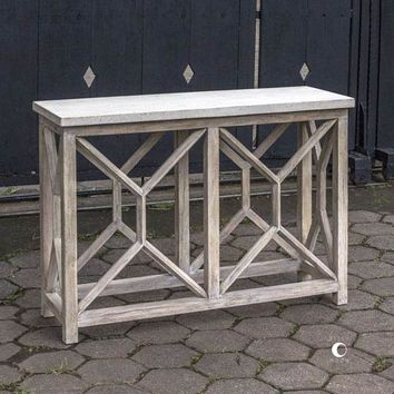 Uttermost Catali Ivory Stone Console Table On SALE