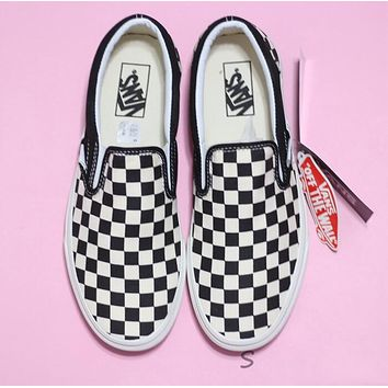 Vans Slip-On Classic Popular Women Men Casual Old Skool Black White Checkerboard Canvas Sneakers Sport Shoes I-A36H-MY