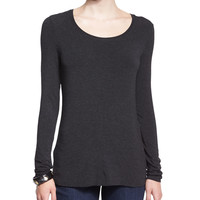Long-Sleeve Jersey Cozy Tee, Black, Petite, Size: