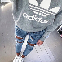 "Women Fashion ""Adidas"" Hooded Top Sweater Pullover Sweatshirt Hoodie"