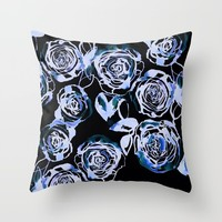Midnight Rose Throw Pillow by Holly Sharpe