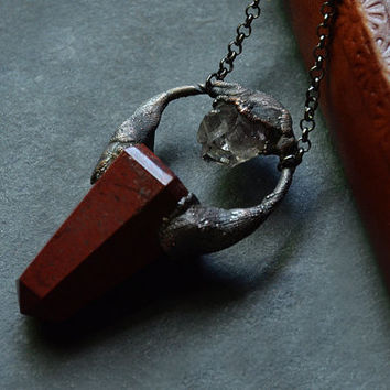 Red Jasper Crystal Point Necklace with Raw Amethyst Quartz    Antique Copper   Crystal Necklace   Red Crystal   Stone Necklace