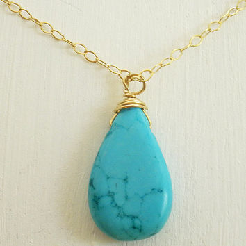 Turquoise necklace, Turquoise Drop, gold filled necklace, long gold chain, wire wrapped Turquoise pendant, layering necklace