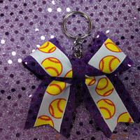 Softball/Baseball/Tennis bow keychain