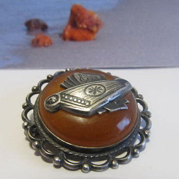 100% Natural #Antique #Vintage #Baltic #Amber #Brooch #Silver with psaltery, 7.8 grams dark #yellow egg yolk polished  opaque  for adult