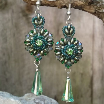 Green crystal handmade super duo beaded statement dangle earrings for women, Fashionable and classy jewelry