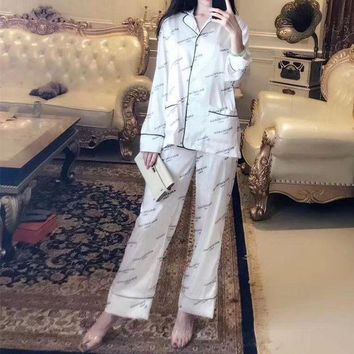 DCCKH3L Balenciaga' Women Fashion Logo Letter Print Long Sleeve Cardigan Trousers Sleepwear Set Two-Piece