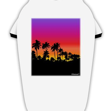 Palm Trees and Sunset Design Stylish Cotton Dog Shirt by TooLoud