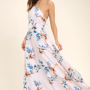 Peninsula Light Peach Floral Print Maxi Dress
