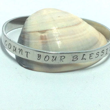 Custom Hand Stamped Cuff Bracelet - CONNER FONT Pick the Phrase Silver Toned
