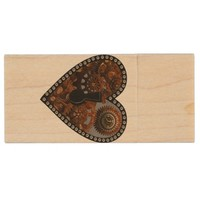 Grunge Steampunk Clocks and Gears Key Heart Wood USB 2.0 Flash Drive