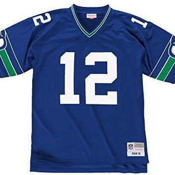 Seattle Seahawks Blue Fan #12 12th Man Mitchell And Ness Throwback Jersey