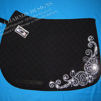 JCD- Just Charmin Designs- Crystal Bling English Dressage Hunter Jumper All Purpose Horse Pony Show Saddle Blanket Pad
