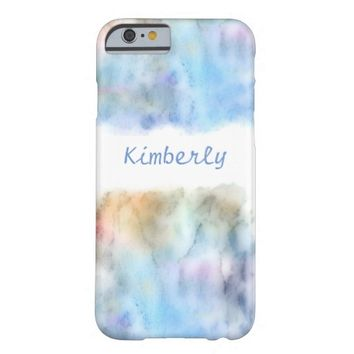 pretty watercolor to personalize in blue barely there iPhone 6 case