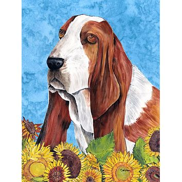 Basset Hound Flag Canvas House Size