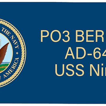 Personalized Custom United States Navy License Plate. Customized Military Car Tag With 3 Lines Of ANY TEXT. This Vanity Front License Plate Makes A Great Personalized Gift.