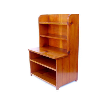 Vintage Step back Cupboard Knotty Pine Small Hutch Wooden Shelf Tongue & Groove Wood Plank Country Furniture