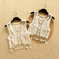 Fairy Hollowed Floral Crocheted Vest Open Cropped Cardigan 2 Colors