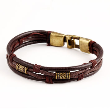 Genuine Leather Genuine Women Man Bracelets Unisex Casual/Sporty Multi-Layer Alloy Hook Link Chain Christmas Holiday Bracelet