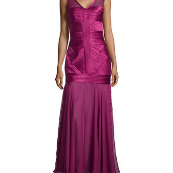 Sleeveless V-Neck Illusion Gown, Size: