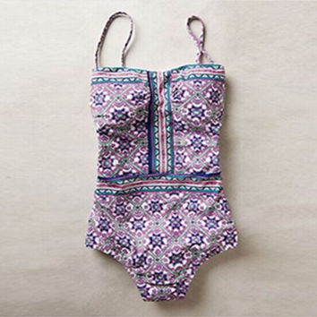 Beach Sexy New Arrival Swimsuit Hot Summer Mosaic Print Slim Swimwear Bikini [4914741508]