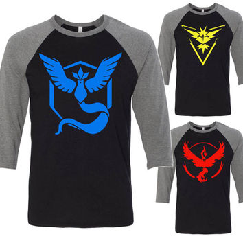 Pokemon Go Raglan 3/4 Sleeve Baseball Shirt Team Instinct, Team Valor, Team Mystic Adult XS-2XL Shirts