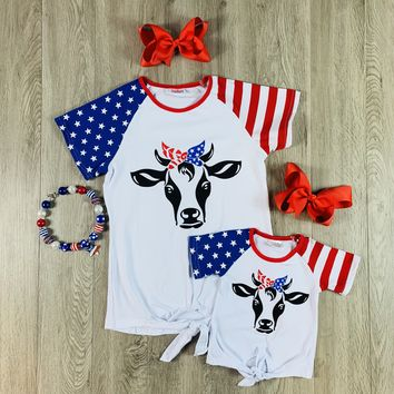 RTS Mommy & Me Patriotic Cow D38