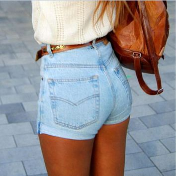 Fashion Solid Color Simple Casual High Waist Denim Shorts Hot Pants Jeans