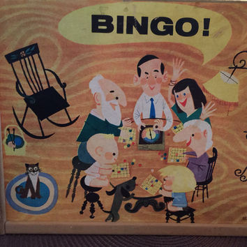 Vintage Bingo Game, Tucket Toy Corp, Wood Case, Spinner, 1950s midcentury toy, Game pieces, Bingo cards